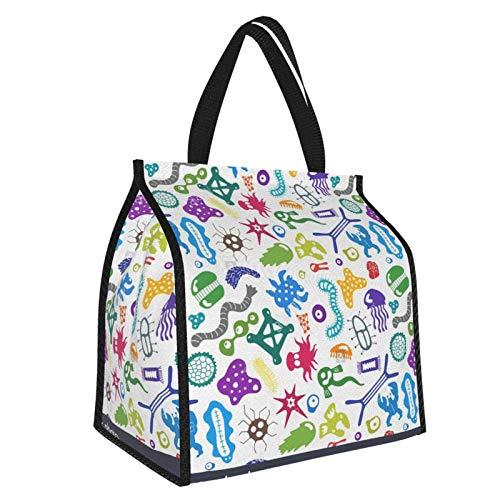 LSTD Coronavirus Microorganisms1 Thermal Cooling Bag, Portable Folding Picnic Basket, Sewn Into The Frame