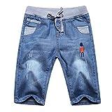 Happy Cherry Short en Denim Enfant avec Poches Bermuda en Jean Garçon avec Cordon Pantalons Jean Court Style 3 Age Adapté 11-12 Ans