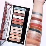 Sombra de ojos de 12 colores La paleta de maquillaje, maquillaje resistente al agua y duradero, no...