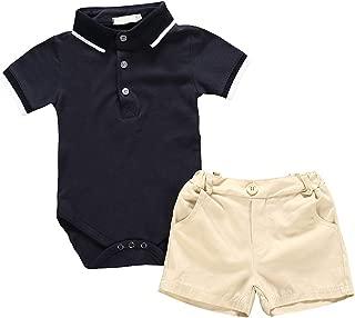Camidy Infant Baby Boy Lapel Collar Polo Shirt Romper + Shorts Gentleman Clothes Set