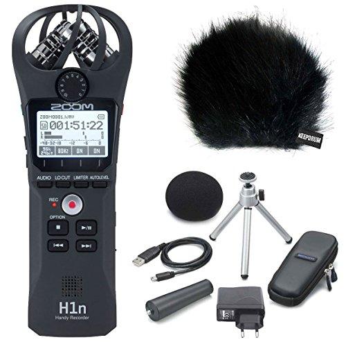 Zoom H1N Teléfono Móvil de DVD + aph1N Set de accesorios + Keepdrum piel Protector de viento, Negro
