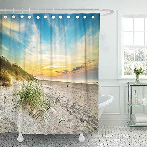 JOOCAR Design Duschvorhang, Orange Sand Dunes gegen Sonnenuntergang Licht am Strand in Nordpolen weiß, wasserdichter Stoff Stoff Badezimmer Dekor Set mit Haken