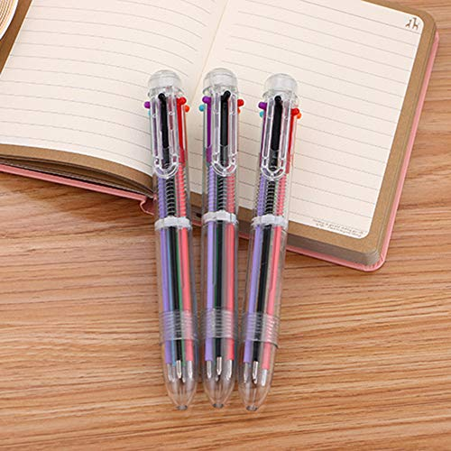 osyare Bolígrafos multicolor 6 en 1 retráctiles de 6 colores vivos de tinta de colores transparentes de barril para oficina, suministros escolares, estudiantes, niños, regalo