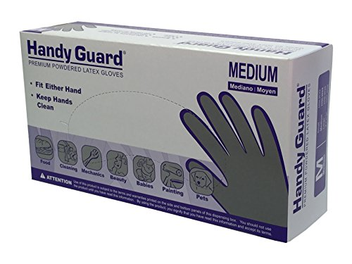 Adenna HGLW25 Handy Guard 4 mil Latex Powdered Gloves (White, Medium)