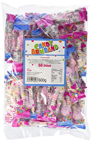 Tise Süsswaren Süsse Armbänder Traubenzucker Nostalgie Retro Süssigkeiten Wurfmaterial Karneval Fasching Geburtstage Events Veranstaltungen Partys, 50 Stück