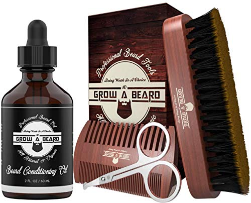 Beard Brush, Comb, Beard Oil & Scissors Beard Growth Kit For Men, Gifts For Dad, Gifts for Him, Gift for Dad From Daughter, Men Gift Sets for Men, Husband Him Dad Boyfriend, for Beard Grooming,