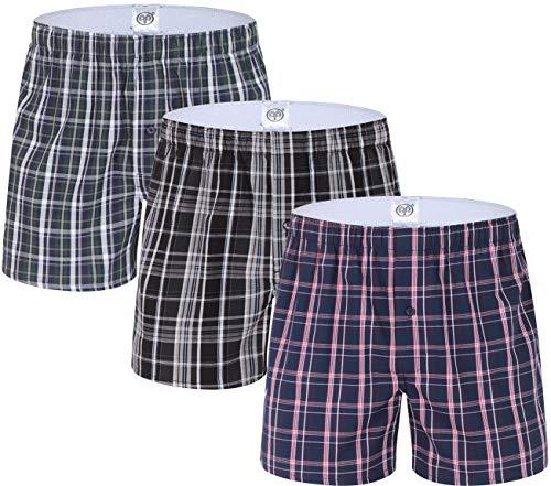 Monissy Herren Boxershorts 3er Pack American Style Retro Boxer Unterhosen Aus Reiner Baumwolle Webboxershorts Größe bis 3XL