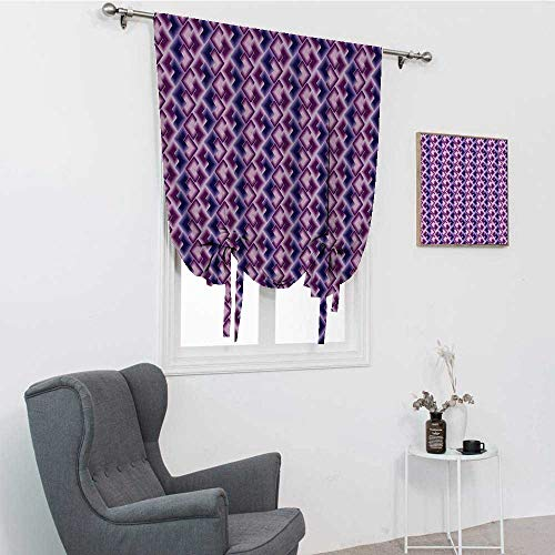 Cortina geométrica romana, azulejos trípticos con efectos de degradado digital de poli arte superpuestos cuadrados amarrados para ventana, color violeta, morado, azul oscuro, 42 pulgadas x 72 pulgadas