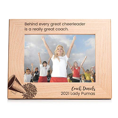 Lifetime Creations Engraved Personalized Cheerleading Coach Picture Frame (5' x 7' Landscape) - Personalized Cheerleading Coach Gifts, Youth Cheerleading Coach Frame Gift Ideas
