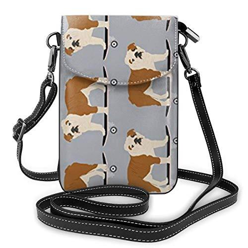 Englische Bulldogge Skateboard Leder Handy Geldbörse Halter Brieftasche Functional Multi Poet für Frauen