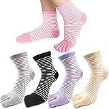 REKYO 5 Paar Damen fünf Finger Zehen-Socken für Frauen Mädchen Baumwolle, Damen Casual Low Cut Ankle Socks weich und atmungsaktiv Größe 35-42 (Streifen)