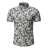 Aoogo Herren Hawaiihemd Kurzarm Blumen beiläufige Hemden Revers-Kurzarm Hemd für Strand Party Feiertag