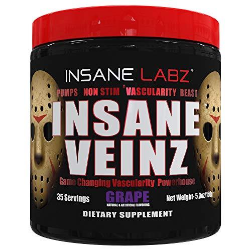 Insane Labz Insane Veinz no estimulante en polvo potenciador, refuerzo de óxido nítrico, cargado con sulfato de agmatina y betaína anhidra, aumenta la vascularidad, 35 Srvgs, uva