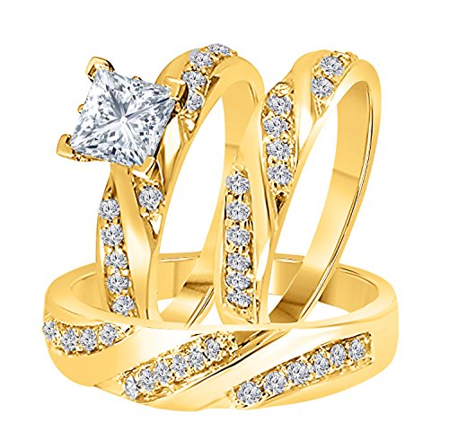 DS Jewels Hombre Unisex Mujer Plata fina 925 plata chapada en oro amarillo princesa redonda Cubic Zirconia