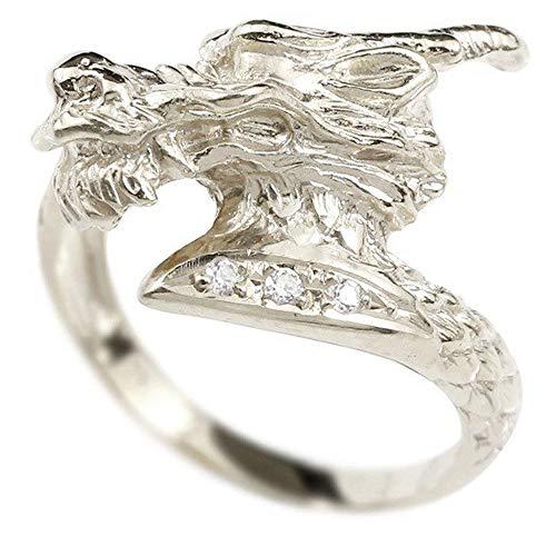 [アトラス]Atrus リング レディース 18金 ホワイトゴールドk18 ダイヤモンド ドラゴン 龍 幅広 指輪 22号