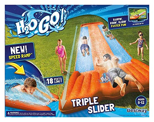 New Inflatable Water Slide Triple Pool Kids Park Backyard Play Fun Outdoor Splash Slip N Slide