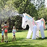 Vercico Juguete Gigante Inflable aspersor para niños Adultos Gigante Inflable Unicornio Gigante Juguete de Agua 5.2Ft Pulverizada Regadera de jardín