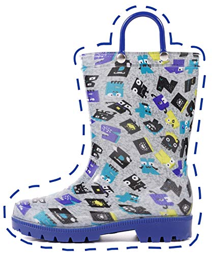Outee Toddler Rain Boots Boys Kids Lightweight Waterproof Shoes Printed Robot Blue Rubber Adorable Print Cute with Easy On Handles (Size 7,Blue)