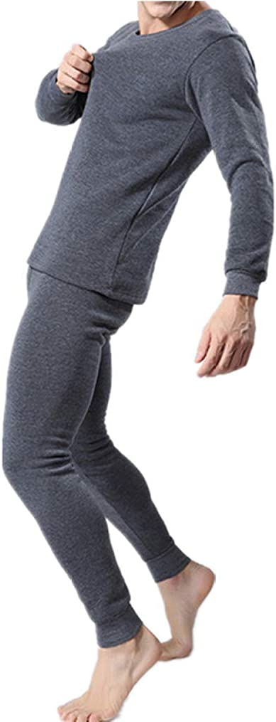 Mens Thermal Underwear O-Neck Ultra Soft Long Johns Set Cotton Base Layer Top and Bottom