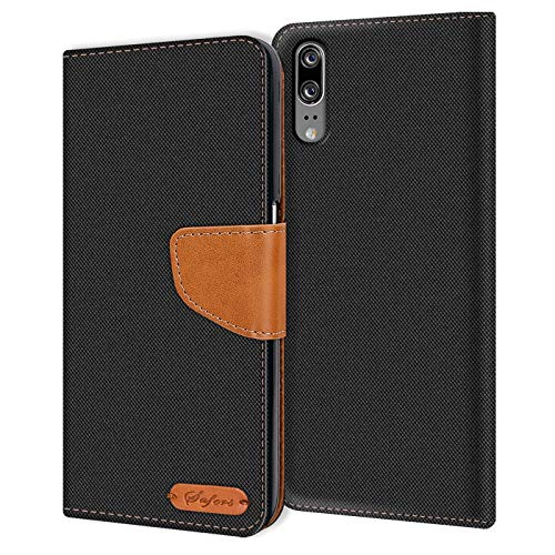 Verco P20 Hülle, Schutzhülle für Huawei P20 Tasche Denim Textil Book Hülle Flip Hülle - Klapphülle Schwarz