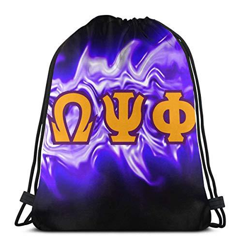 XCNGG Omega PSI Phi Drawstring Bag Unisex Fitness School Sport Bag Classic Printed Diseñado para Hombres Mujeres