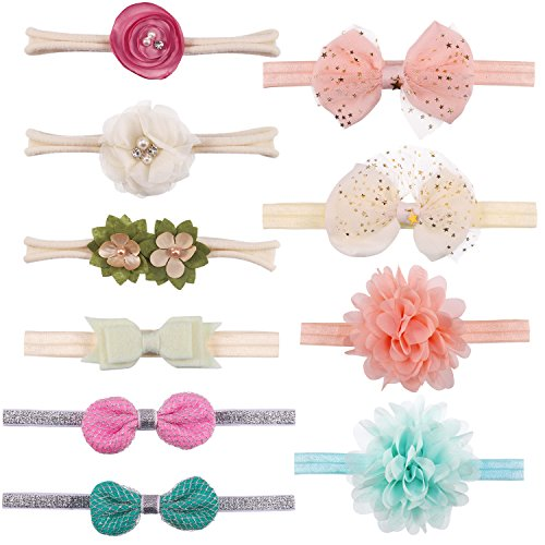 Hautoco Baby Headbands 10Pcs Baby Girl Headbands Hair Bow Baby Bows and Headbands Elastics for Newborn Infant Toddlers Kids Multicoloured stretchable
