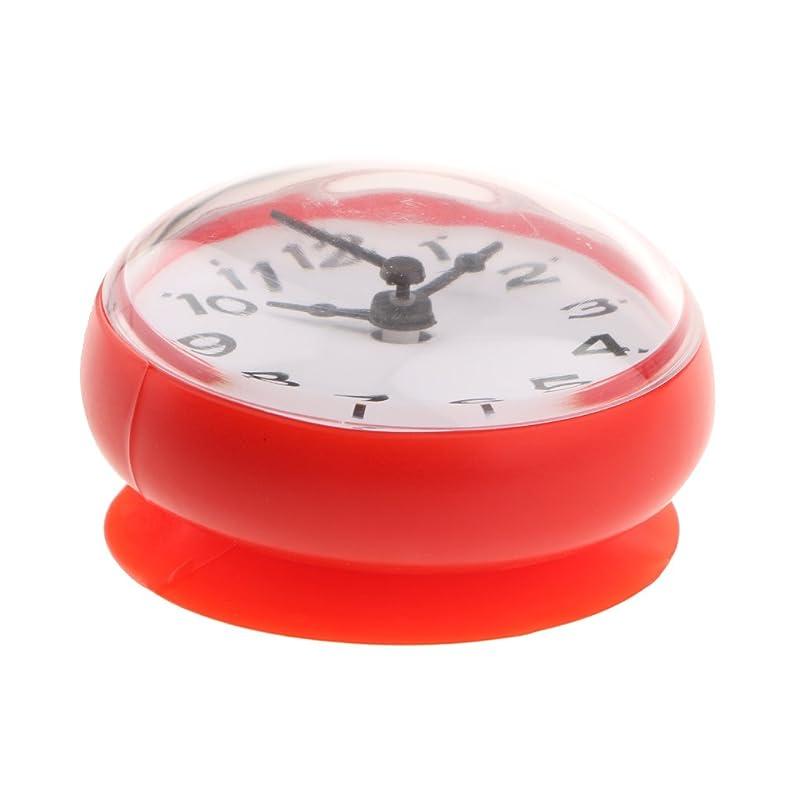 ブラウズすり減る分Perfeclan 多種選べる キッチン バスルーム バスシャワー サクションカップ 時計 防水  - 赤