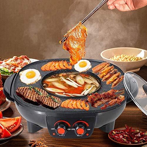 BBQ Elektrische Barbecue Hot Pot, TZUTOGETHER Barbecue Hot Pot Doppeltopf Indoor-Hot Pot Chafing Dish Das integrierte elektrische Backblech für den Kochtopf ist mit 220 V / 1300 W ausgestattet