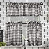 No. 918 Parkham Farmhouse Plaid Semi-Sheer Rod Pocket Kitchen Curtain Valance and Tiers Set, 54' x 24' 3-Piece, Black/White