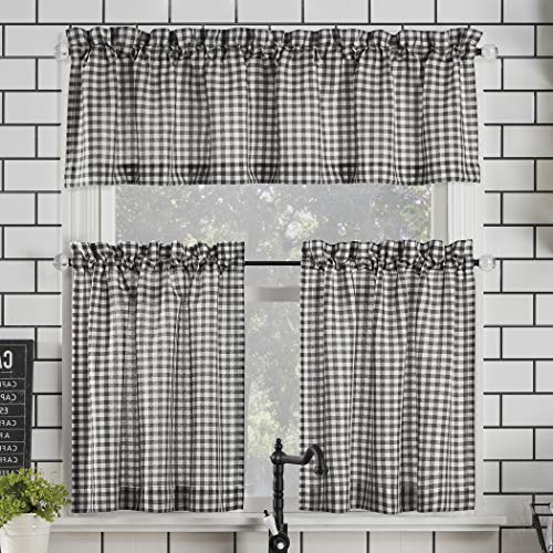 "No. 918 Parkham Farmhouse Plaid Semi-Sheer Rod Pocket Kitchen Curtain Valance and Tiers Set, 54"" x 36"" 3-Piece, Black/White"
