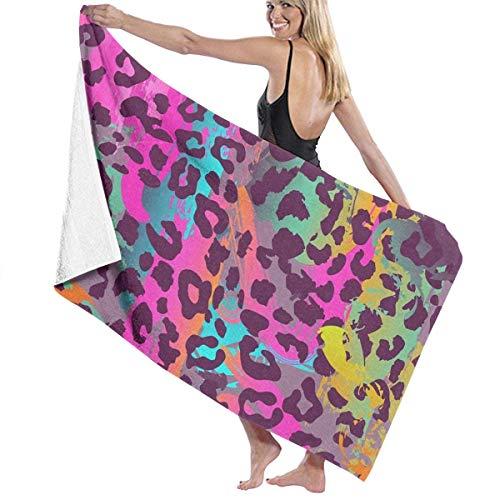 Olie Cam Toallas de Playa de Animales de Leopardo de Colores Toallas de Ducha de baño de Microfibra de Secado rápido para el hogar al Aire Libre para niños Adultos