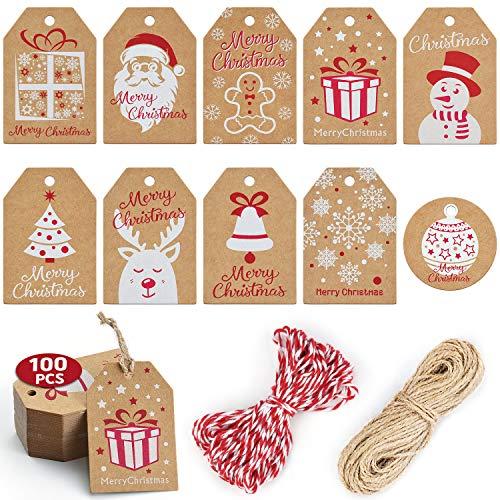 WEARXI Geschenkanhänger Weihnachten Kraftpapier Etiketten Anhänger 100 StüCk, Geschenkanhänger Rund und Quadratische, Etiketten zum Beschriften für Stempel Hochzeit Flaschen Geschenk (10 Stile)