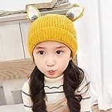 geiqianjiumai Baby Hut Neue Baby Pullover Kappe niedlichen Häschen Ohrenschützer warme gestrickte Wollmütze gelb 3-5 Jahre alt