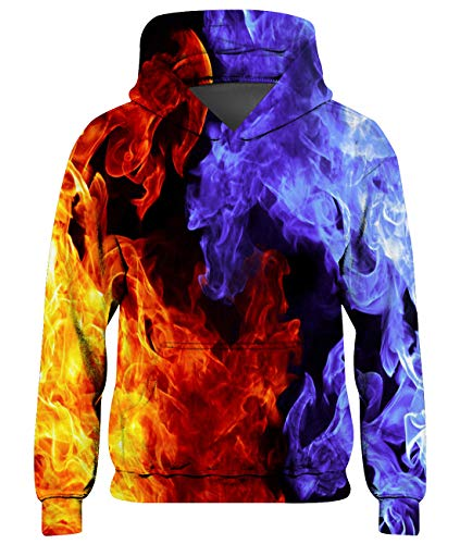 Goodstoworld Hoodie Pullover Mädchen Kinder Jungen EIS Feuer 3D Kapuzenpullover Coole Lange Ärmel Kapuzenshirt Sweatshirt