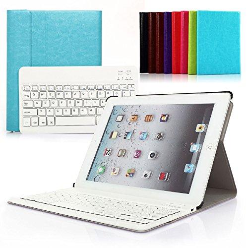 Bluetooth Tastatur Hülle für iPad 4, 3, 2 Schutzhülle Keyboard Case mit Magnetischer Abnehmbarer Drahtloser Deutscher Tastatur (Himmelblau Hülle+Weiß Tastatur)
