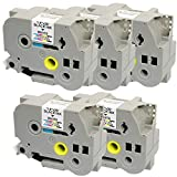 5 x Schriftband-Kassetten Brother TZ-261 / TZe-261 schwarz auf weiß (36mm x 8m) kompatibel für Brother P-Touch PT-3600 530 550 9200PC 9200DX 9400 9500PC 9600 9700 9700PC 9800 9800PCN D800W E800T E800TK E850TKW P900W P950NW RL-700S