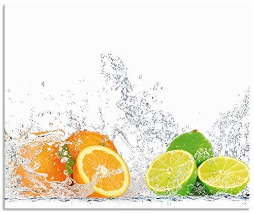 Artland Spritzschutz Küche aus Alu für Herd Spüle 60x50 cm Küchenrückwand mit Motiv Essen Obst Früchte Erbeeren Limette Orange Modern Hell Bunt S6JP