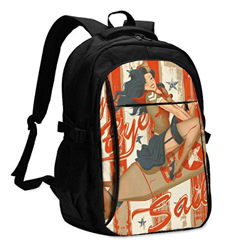 Lsjuee Laptop Backpacks Tactical Pin-Up On A Rocket Office & School Supplies with USB Data Cable and Music Jack Laptop Bags Notebook Computer 18.1X13.3 inch