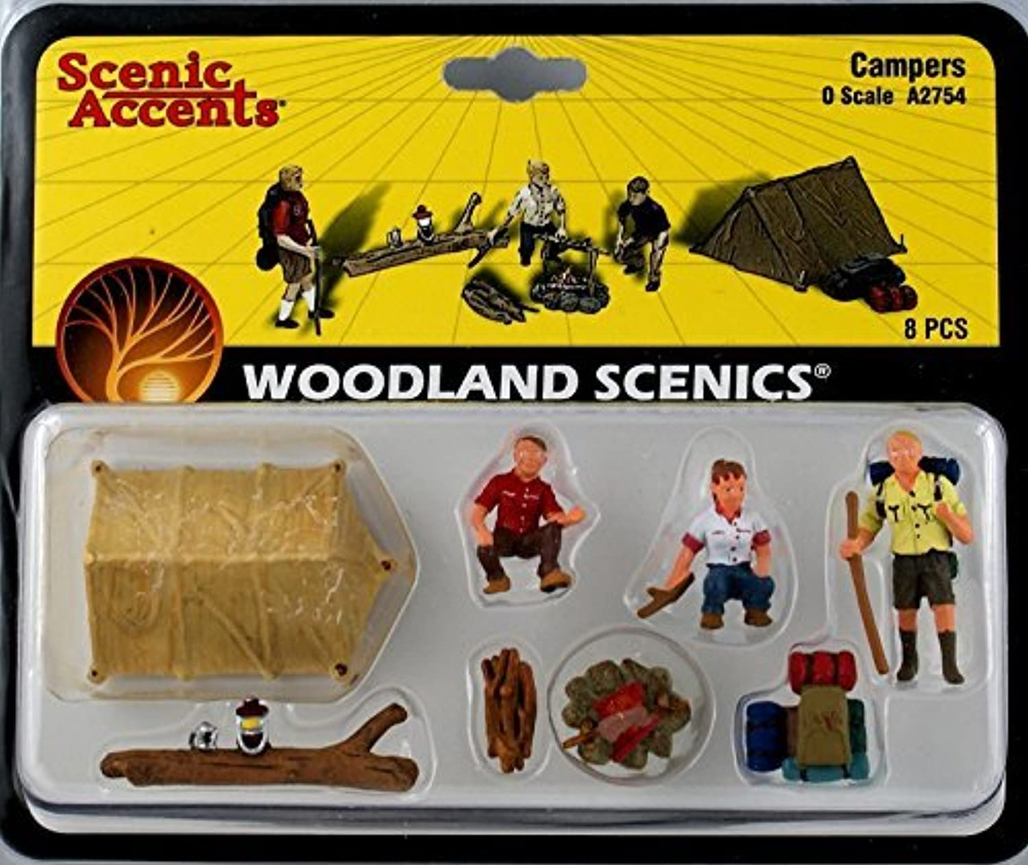 Campers (3) w Tent & Accessories O Scale Woodland Scenics by Woodland Scenics