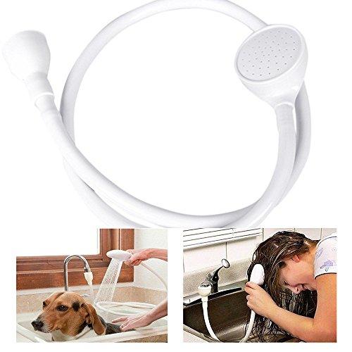 Renvopo Cabezal de ducha de limpieza para mascotas, grifo ancho y único, para bañera o ducha, cabezal de ducha para mascotas, junta universal, grifo ancho y manguera de ducha (blanco)