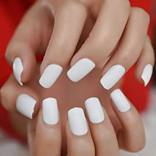 CoolNail Frosted Finished White Press on False Nails 24pcs Square Head Matte Designed Full Cover Fake Finger Nails Daily Wear