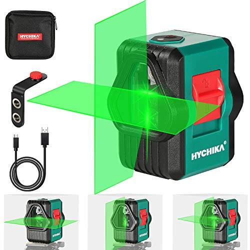 Nivel Láser Verde 45M, HYCHIKA USB Carga, Láser Autonivelante, IP54 en Exteriores, 2 Láser Módulo Línea Cruzado Vertical/Horizontal, Bolsa para Transporte, Soporte Magnético, 360°Rotante