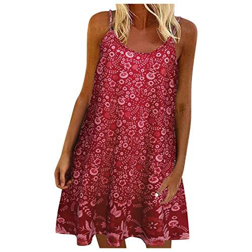 Damskie letnie sukienki z ramiączkami z kwiatowym nadrukiem dekolt bez rękawów falbana mini krótka sukienka linia A