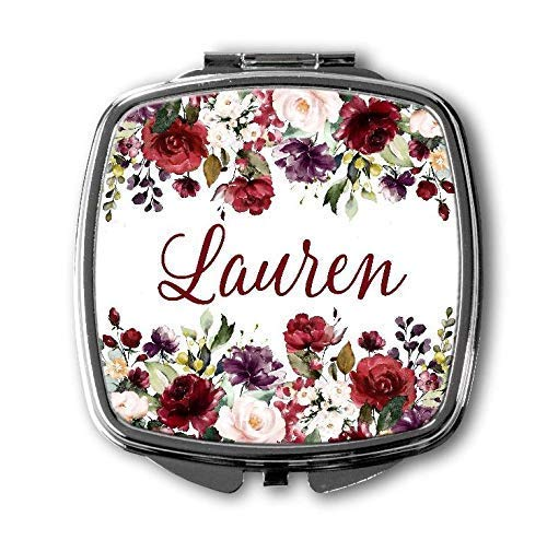 Personalized Compact Makeup Mirror - Bridesmaid Gift - Floral Pocket Mirror