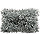CelinaTex Cuddly Dekokissen 40 x 60 cm grau Langhaar Zierkissen dekoratives Fellimitat Nicki...