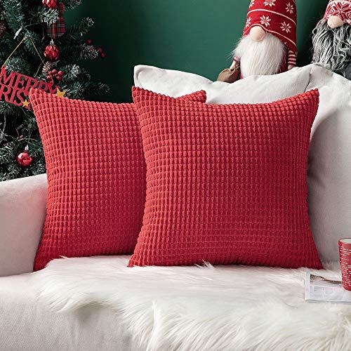 """MIULEE 2er Set Cord Weiches Massiv Dekorativen Quadratisch Überwurf Kissenbezüge Kissen für Sofa Schlafzimmer 16\""""x16\"""", 40 x 40 cm Rot"""