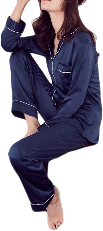 Cromoncent Womens Lounge 2 Picecs Sleepwear Satin Comfort Pajama Sets