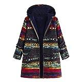 Abrigo Invierno Mujer Chaqueta Suéter Jersey Mujer Cardigan Mujer Tallas Grandes Outwear Floral Bolsillos con Capucha de Impresión Caliente Sudadera