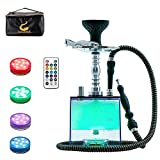 Hookah Set with Case with Everything, ASANMA Micro Modern Cube Acrylic Hookah with Silicone Hookah Bowl Leather Hose Tongs Magical Remote LED Light for Better Shisha Hookah Narguile Smoking