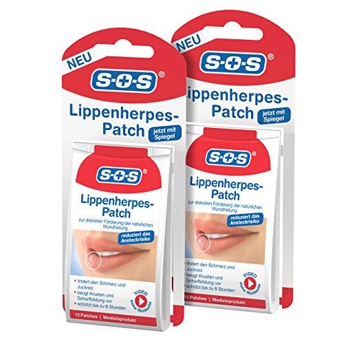 SOS Lippen-Herpes-Patch, zur Förderung der Wundheilung bei Lippenherpes, diskrete Herpes Pflaster zur Linderung von Schmerz und Juckreiz, fast unsichtbar und atmungsaktiv, 2 x 12 Patches